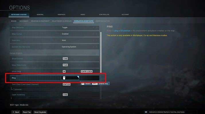 Кнопка, отвечающая за пинг, может быть свободно изменена в настройках игры - Warzone: Общение - Основы - Руководство по Warzone
