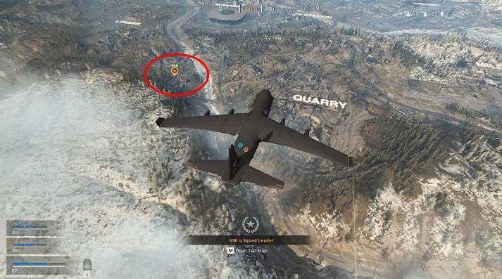 На изображении выше вы можете увидеть место приземления, отмеченное лидером группы - об этом свидетельствует оранжевый маркер на карте