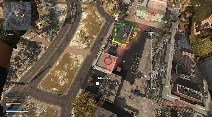 На изображении выше показана ситуация, когда два игрока из команды уже приземлились и ищут в здании необходимое оборудование - Warzone: Teamwork