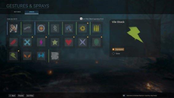 Спреи и жесты, такие как карты и эмблемы, можно разблокировать несколькими способами - от бесплатных наборов, выполнения определенных задач, продвижения боевого пропуска или покупок в игровом магазине