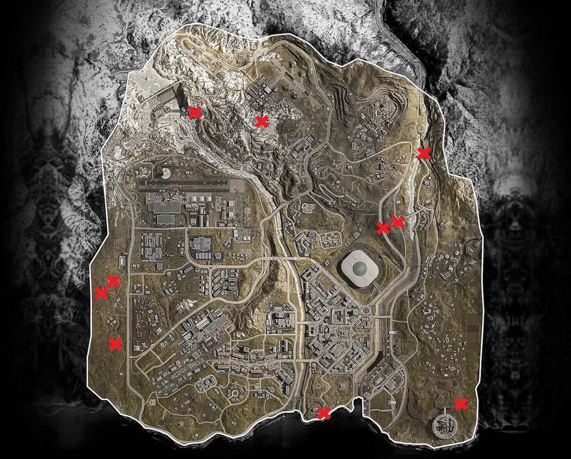Call of Duty Warzone карта расположения бункеров